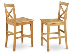 Set of 2 bar stools kitchen counter height chairs w/ wood se