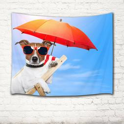 Beach Chair Dog Sunglasses Umbrella Tapestry Wall Hanging fo