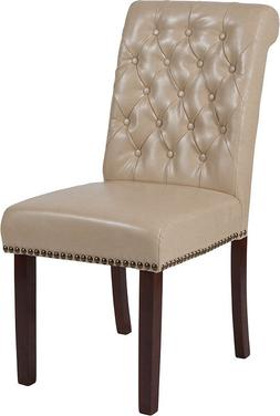 Beige Leathersoft Parsons Dining Chair with Nail Head Trim &