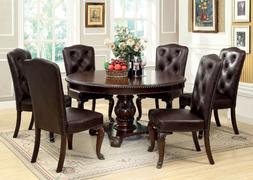 Bellagio round formal dining set leather-like fabric chairs