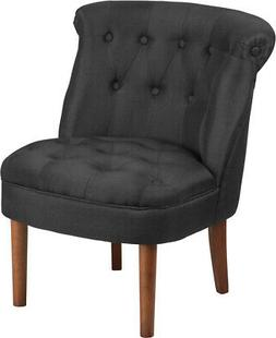 Black Fabric Upholstered Button Tufted Rolled Back Chair wit