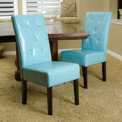 Blue Faux Leather Upholstered Dining Chairs 2 Piece Set Home