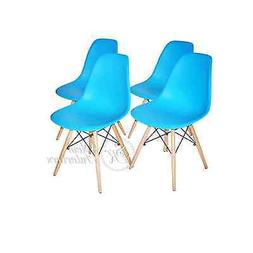 Blue Plastic Molded Side Dining Chairs Modern with Natural W