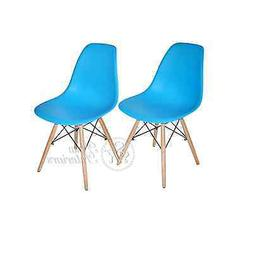 Blue Plastic Side Dining Chairs Modern with Natural Wood Leg