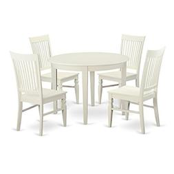 East West Furniture BOWE5-WHI-W 5 Piece Table and 4 Dining C