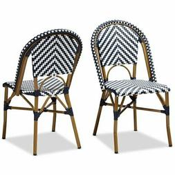Baxton Studio Celie Dining Side Chair in Navy and White