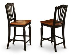 Chelsea Stools with wood seat, 24 seat height - Black Finish