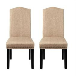 Classic Dining Chair Set of 2 Fabric Upholstered Kitchen Cha
