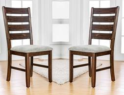 Classic Style Set of 6pc Dining Chairs Beige Fabric Seating