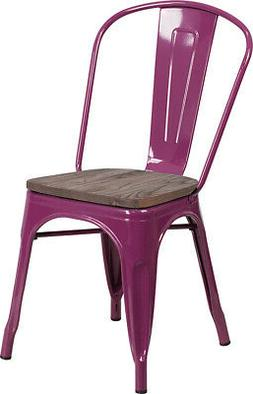 Colorful Metal Dining Stack Chair with Wood Seat