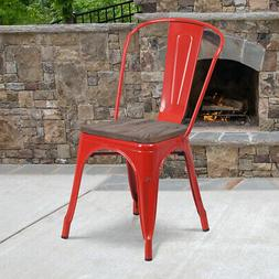 Colorful Metal Stackable Dining Chair with Wood Seat