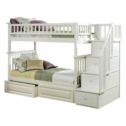 Atlantic Furniture Columbia Staircase Twin Over Twin Bunk Be