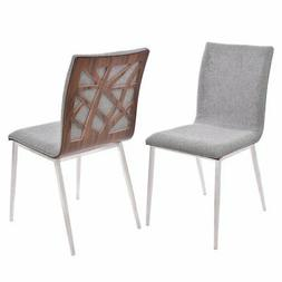 Armen Living Crystal Upholstered Dining Side Chair in Rich G