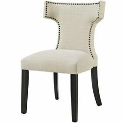Modway Curve Fabric Dining Chair in Beige
