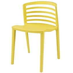 Modway Curvy Dining Side Chair In Yellow