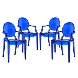 Dining Armchairs in Blue Set of 4