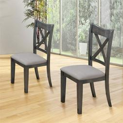 Dining Chair Rubber Wooden Cushioned Seat Chairs Dining Room