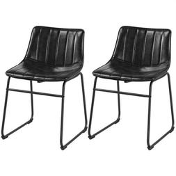 Dining Chairs Faux Leather Stools Industral Metal Legs Home