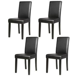 Dining Chairs Set of 1/2/4/6/8/10/12 pieces Leather in Black