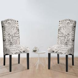 Dining Chairs Set of 2 Dining Script Fabric Accent Chair w/S