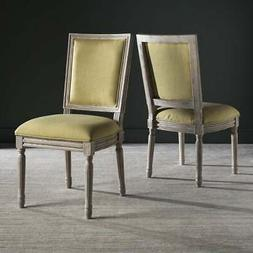 Safavieh Dining Loy Spring Green Linen Dining Chairs (Set of