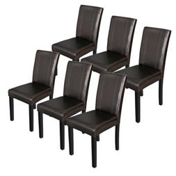 Dining Parson Chair Set of 6 Armless Kitchen Room Brown Leat