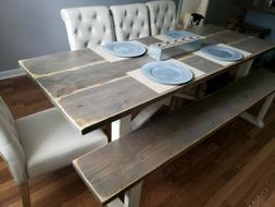 Dining Room Table Set Farmhouse Solid Wood with 4 chairs and