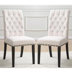 Set of 2 Dining Side Chair Button Tufted Back Nailhead Trim