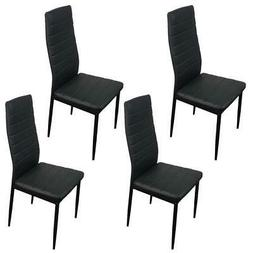 Dining Side Chairs PU Leather Modern Furniture Design Black