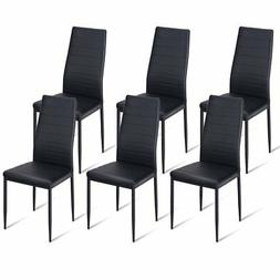 Giantex Dining Side Chairs Set of 6 High Back PU Leather Ele