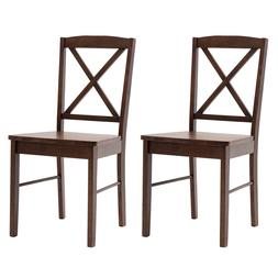 Duhome Set of 2 Dining Chairs with Solid Wood Armless Cross