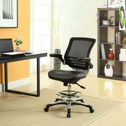 Modway Ed Drafting Chair In Black Vinyl - Reception Desk Cha