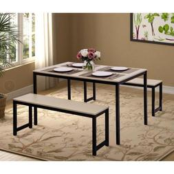 Elegant Dinning Table and Chair Set with 2 Bench for Canteen