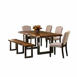 Emerson 6-Piece Rectangle Dining Set with One  Bench and Fou