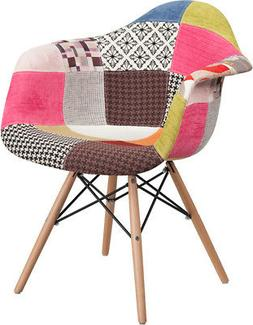 Fabric Accent Dining Chair with Arms and Wooden Legs