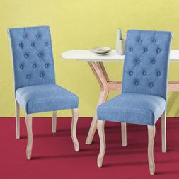 Fabric Chair Dining Room Chair Set with Wood Legs