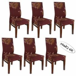 BTSKY Fabric Stretch Dining Room Chair Covers- Set of 6 Soft