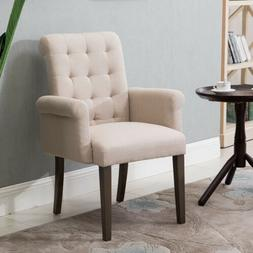 Fabric Tufted Dining Chair Accent Chair w/Armrest&Solid Wood