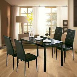 Family 5 Piece Dining Table Set 4 Chairs Glass Metal Kitchen