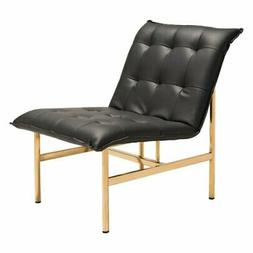 Maklaine Faux Leather Accent Chair in Black and Gold