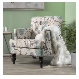 Floral Fabric Tufted Club Accent Chair Christopher Knight Ho