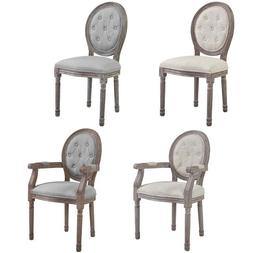 French Dining Chair Louis XVI Style Gray Beige Padded Button