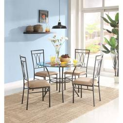 """Mainstays 5-Piece Glass and Metal Dining Set 42"""" Round Table"""