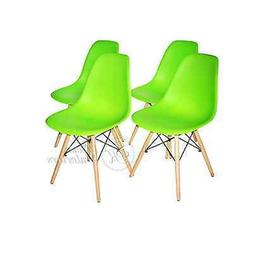 Green Plastic Molded Side Dining Chairs Modern with Natural