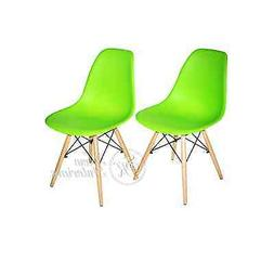 Green Plastic Side Dining Chairs Modern with Natural Wood Le