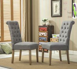 Roundhill Furniture Habit Grey Solid Wood Tufted Parsons Din
