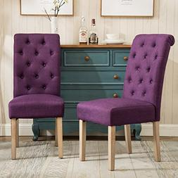 Habit Solid Wood Tufted Parsons Purple Dining Chair, Set of