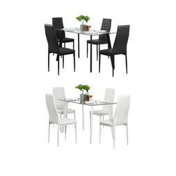 Hot 5 Piece Dining Set Glass Table and 4 Leather Chair for K