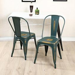 4PC Dining Side Chair Stackable Bistro Cafe Metal Stool Vint