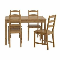 IKEA JOKKMOKK Table and 4 Chairs, Antique Stain, Solid Pine,